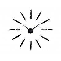 3D Nalepovacie hodiny DIY Clock BIG Twelve L Got70c1k, čierne 80-120cm