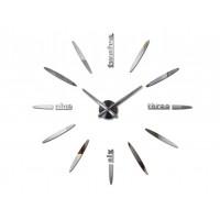 3D Nalepovacie hodiny DIY Clock BIG Twelve XL004si, strieborné 130cm