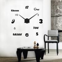 3D Nalepovacie hodiny DIY Clock Cladding XL006bk, čierne 120cm