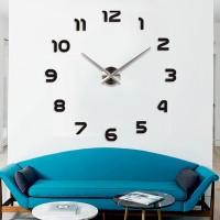 3D Nalepovacie hodiny DIY Clock 1-12, Black/silver XL 90-130cm