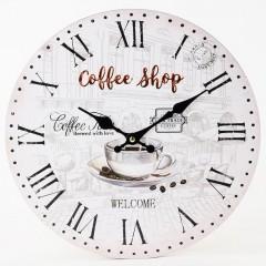Nástenné hodiny, Flor0152, Coffee Shop, 34cm