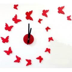 Nalepovacie nástenné hodiny, Motýle 3d diy, červené, 50-70cm