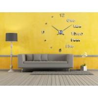 3D Nalepovacie hodiny DIY Clock Evevo 8282XL, Silver 90-130cm