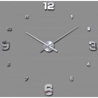 3D Nalepovacie hodiny Clock BIG 3-12 XL, Silver Mirror 90-130cm