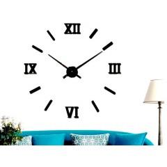 3D Nalepovacie hodiny Roman Numbers, Black 80-130cm