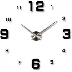 3D Nalepovacie hodiny Clock BIG 3-12 XL, Silver Black 90-130cm