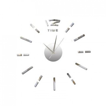 3D Nalepovacie hodiny DIY Clock BIG Time Q70D1, Silver 80-130cm