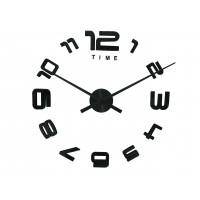 3D Nalepovacie hodiny DIY Clock Evevo 8232BXL, čierne, 90-130cm