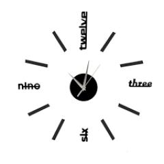 Nalepovacie nástenné hodiny, DIY d6BK mini, čierne, 60cm