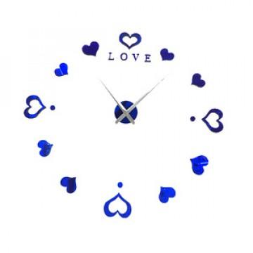3D Nalepovacie hodiny DIY Clock Love, modré 80-130cm