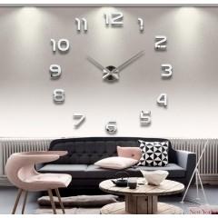 3D Nalepovacie hodiny DIY Clock 1-12, Silver 80-130cm
