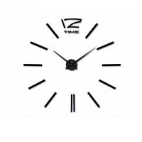 3D Nalepovacie hodiny DIY Clock 12 Time XL Black 90-130cm