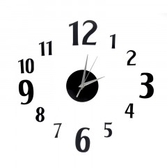 Nalepovacie nástenné hodiny, DIY d4 mini Numbers, čierne, 60cm