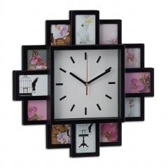 Nástenné hodiny s 12 fotorámikmi čierny, rd1961 39cm