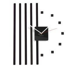 Nástenné akrylové hodiny štvorce Flex z10b, 58 cm, čierne