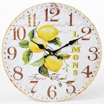 Nástenné hodiny, Flor0086 Lemons, 34cm