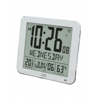 Rádiom riadené digitálne hodiny s budíkom JVD strieborné DH9335.1, 25cm