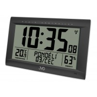 Rádiom riadené digitálne hodiny s budíkom JVD čierne RB9075.1, 41cm