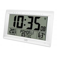 Rádiom riadené digitálne hodiny s budíkom JVD strieborné RB9075.2, 41cm
