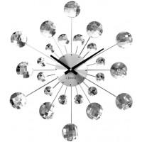 Nástenné hodiny LAVVU LCT1080 CRYSTAL Sunlight Strieborné, 49cm