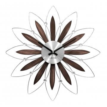 Drevené strieborné hodiny LAVVU CRYSTAL Flower LCT1110, 50cm