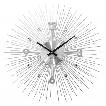 Nástenné hodiny LAVVU LCT1140 CRYSTAL Lines Strieborné, 49 cm