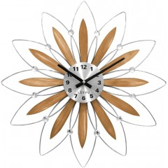 Drevené strieborné hodiny LAVVU CRYSTAL Flower LCT1115, 50 cm
