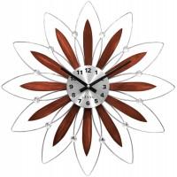 Drevené strieborné hodiny LAVVU CRYSTAL Flower LCT1114, 50 cm