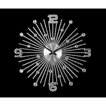 Nástenné hodiny LAVVU LCT1070 CRYSTAL Sun Strieborné, 49 cm