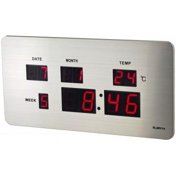 Digitálny LED budík/ hodiny MPM s dátumom a teplomerom C02.3673 RED LED