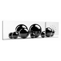 2-dielny obraz s hodinami, čierne guličky, 158x46cm