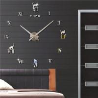 3D Nalepovacie hodiny DIY Clock Cat Time, strieborné 70-120cm