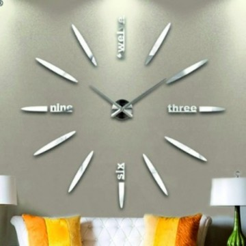 3D Nalepovacie hodiny DIY Clock BIG Twelve C1, strieborné 90-130cm