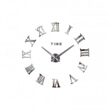 3D Nalepovacie hodiny DIY Clock Roma C2, strieborné S 60-100cm